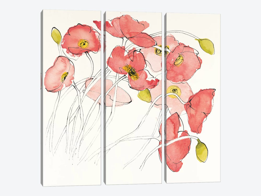 Black Line Poppies II by Shirley Novak 3-piece Canvas Print