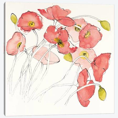 Black Line Poppies II 3-Piece Canvas #WAC4576} by Shirley Novak Canvas Artwork