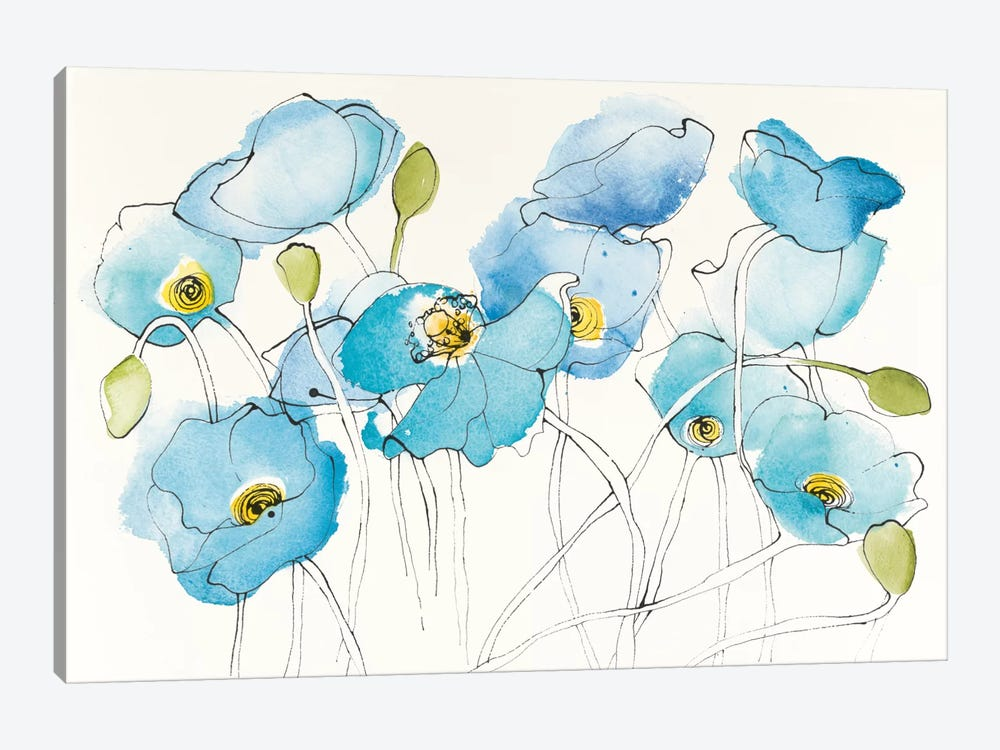 Black Line Poppies III by Shirley Novak 1-piece Canvas Wall Art