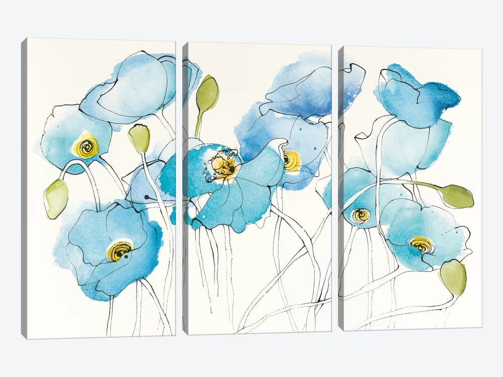 Black Line Poppies III by Shirley Novak 3-piece Canvas Wall Art