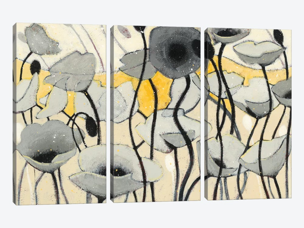 Snow Day Gray Flower by Shirley Novak 3-piece Canvas Wall Art