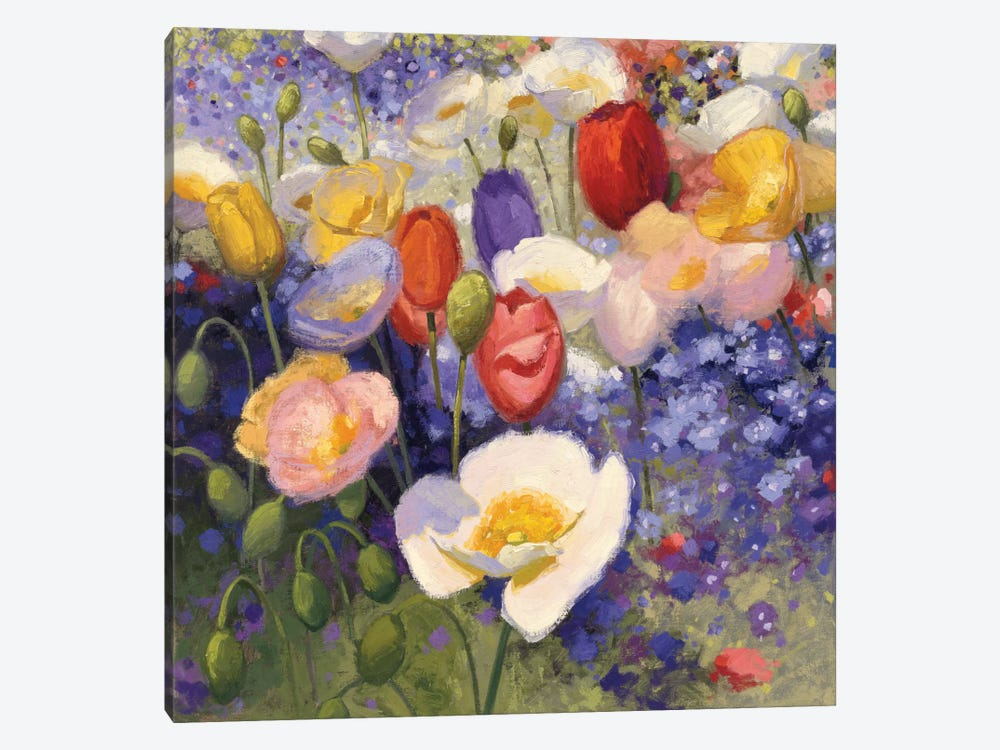 Tulips And Poppy Party by Shirley Novak 1-piece Canvas Artwork