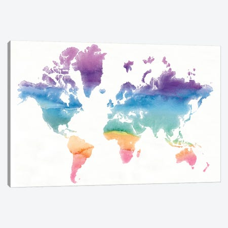 Watercolor World Canvas Print #WAC4624} by Mike Schick Canvas Art