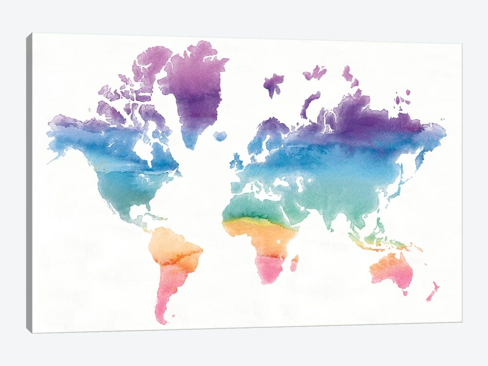 Watercolor World by Mike Schick 1-piece Canvas Artwork