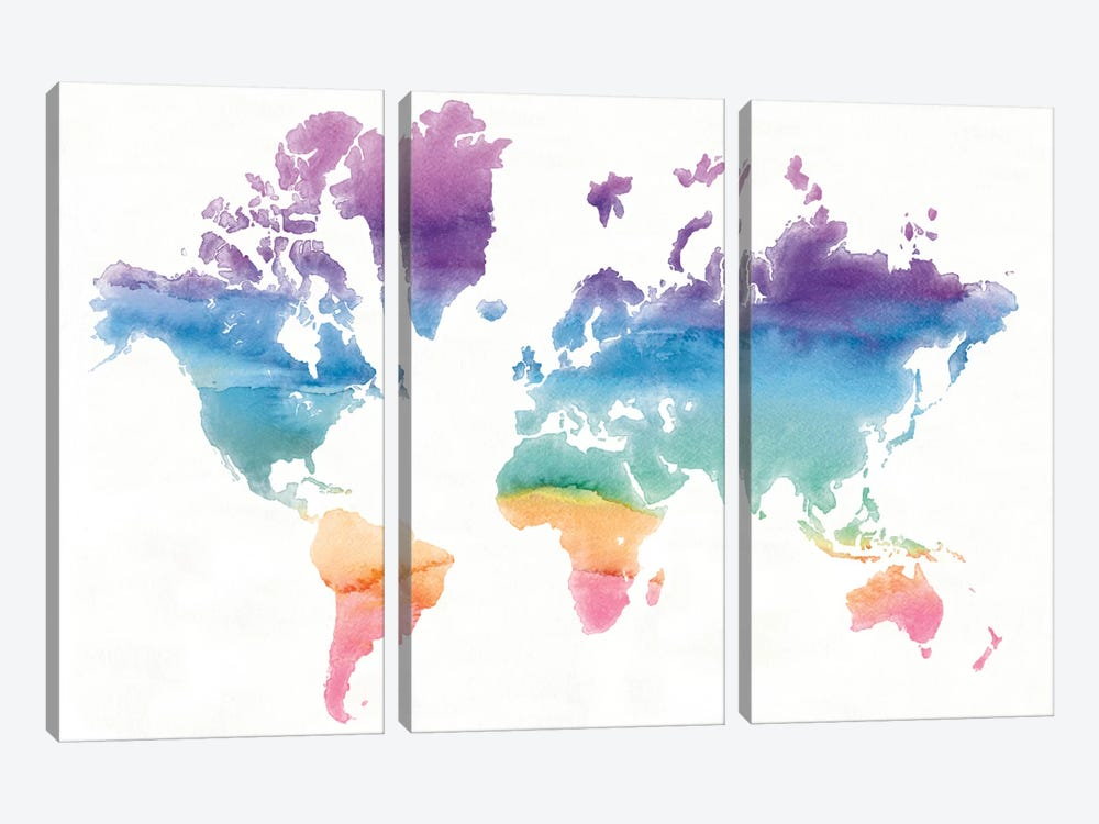 Watercolor World by Mike Schick 3-piece Canvas Art