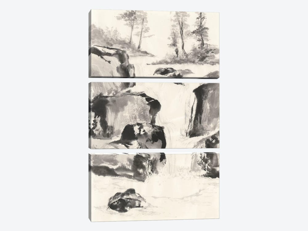 Sumi Waterfall II 3-piece Canvas Wall Art