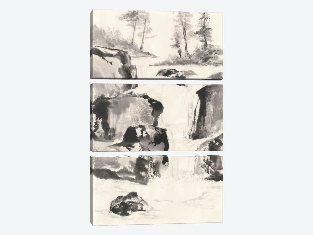 Sumi Waterfall II by Chris Paschke 3-piece Canvas Wall Art