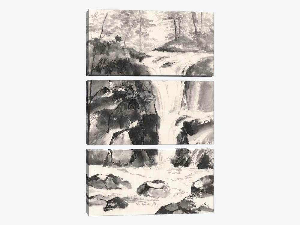 Sumi Waterfall IV by Chris Paschke 3-piece Canvas Wall Art