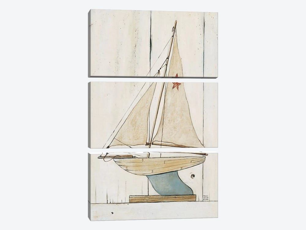 Pond Yacht II by David Carter Brown 3-piece Canvas Print