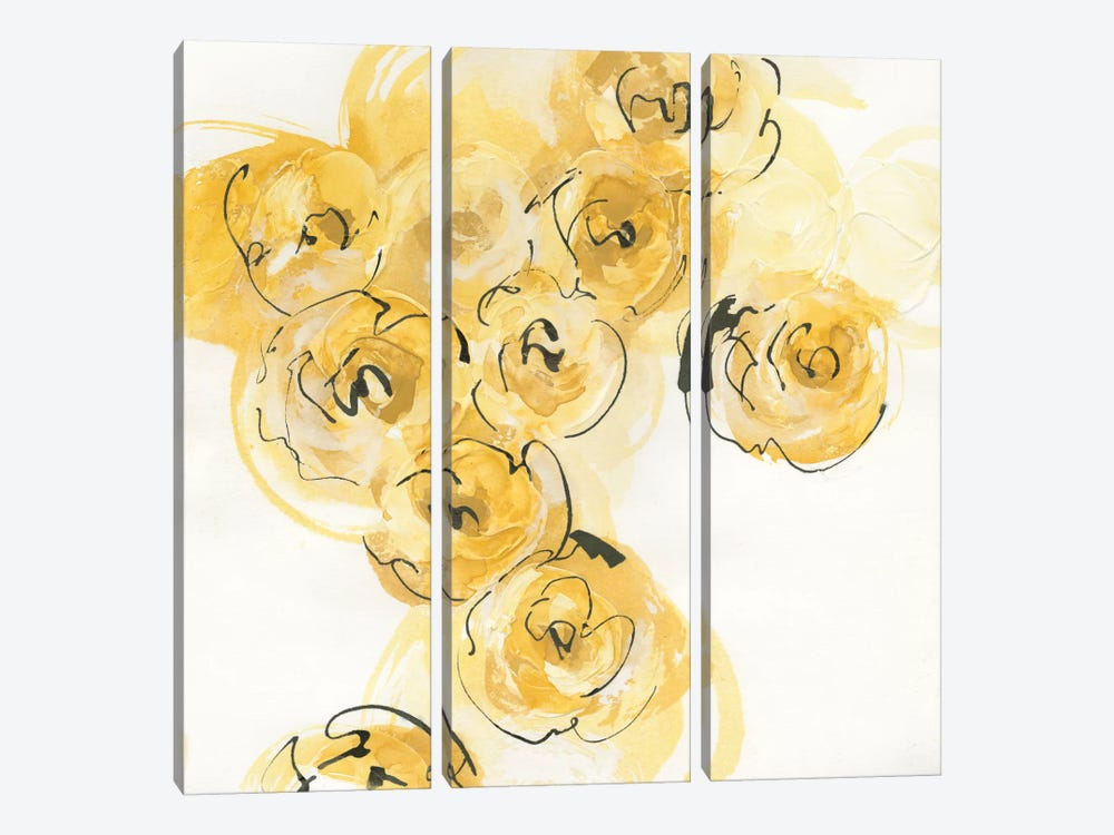 Yellow Roses Anew I by Chris Paschke 3-piece Canvas Artwork