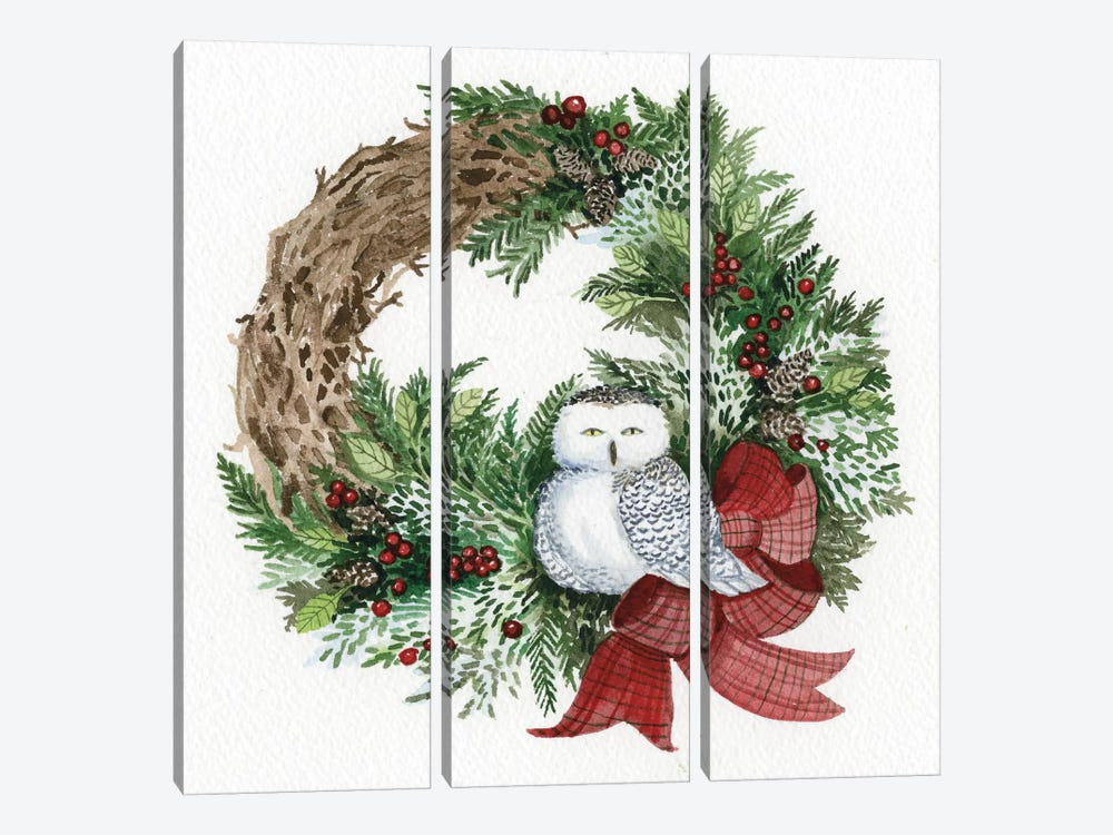 Holiday Wreath II by Kathleen Parr McKenna 3-piece Canvas Artwork