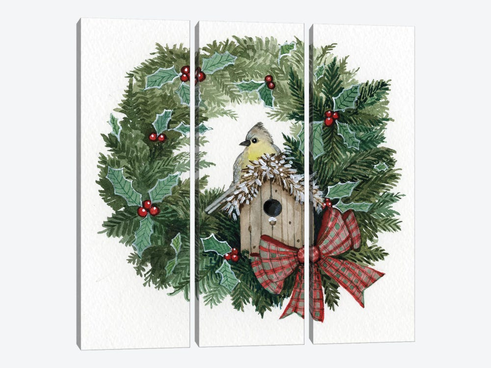 Holiday Wreath III by Kathleen Parr McKenna 3-piece Art Print