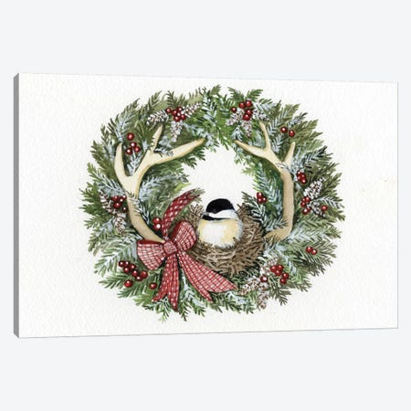 Holiday Wreath IV Canvas Print #WAC4686} by Kathleen Parr McKenna Canvas Artwork