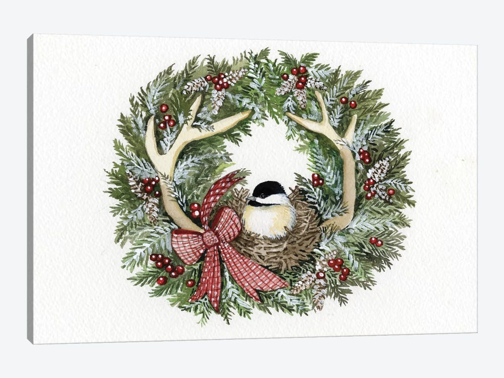 Holiday Wreath IV by Kathleen Parr McKenna 1-piece Canvas Artwork