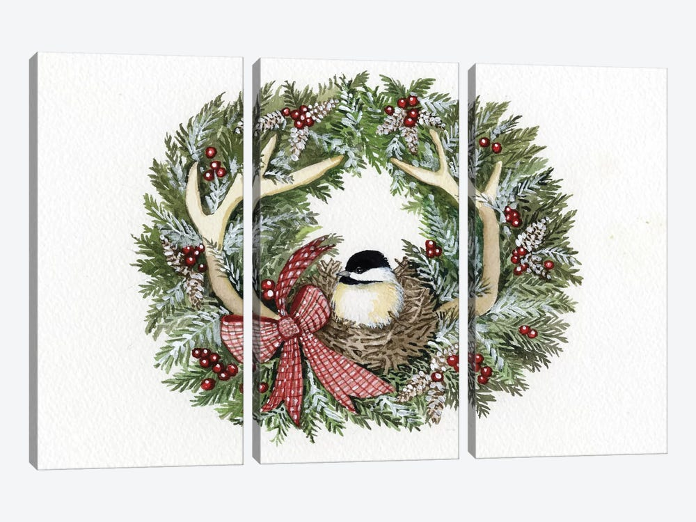 Holiday Wreath IV by Kathleen Parr McKenna 3-piece Canvas Wall Art