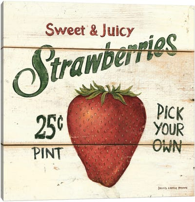 Sweet and Juicy Strawberries Canvas Art Print