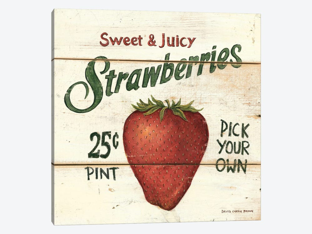 Sweet and Juicy Strawberries by David Carter Brown 1-piece Canvas Art Print