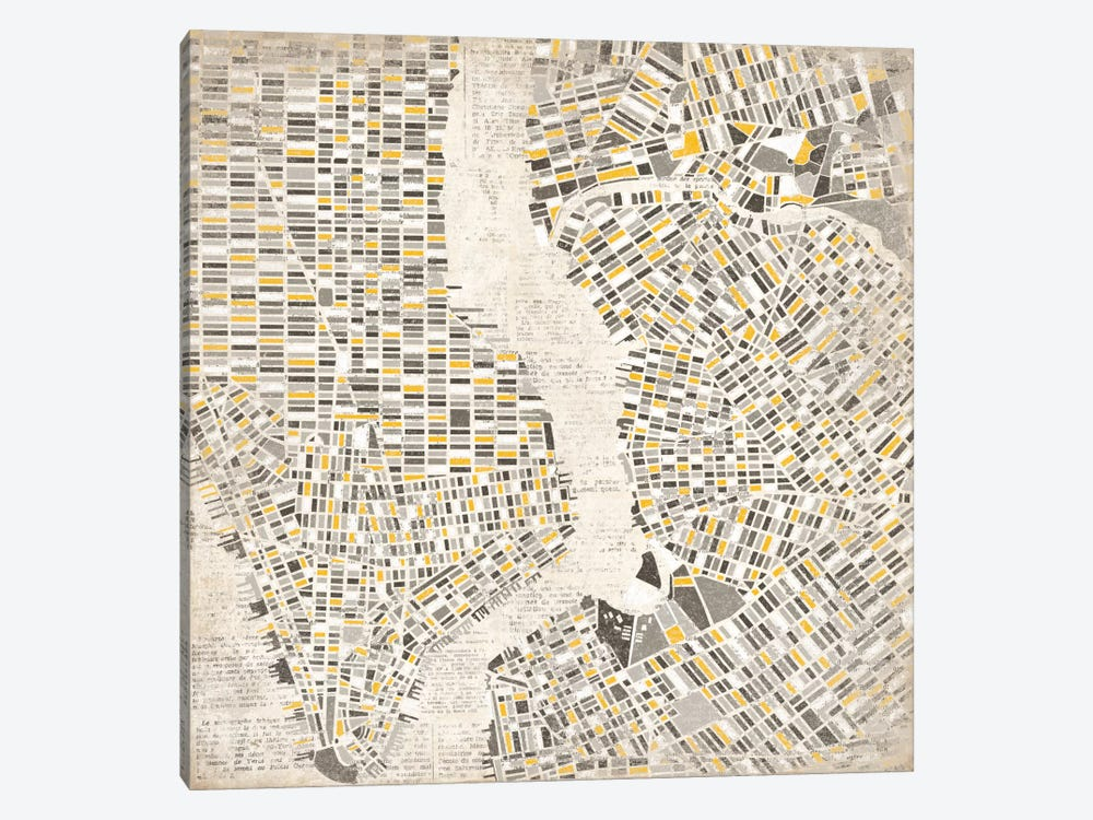 Neutral New York Map by Laura Marshall 1-piece Canvas Art