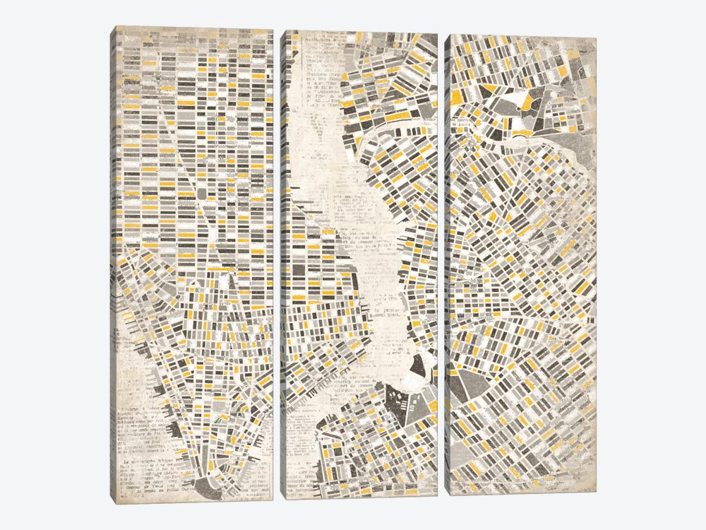 Neutral New York Map by Laura Marshall 3-piece Canvas Artwork