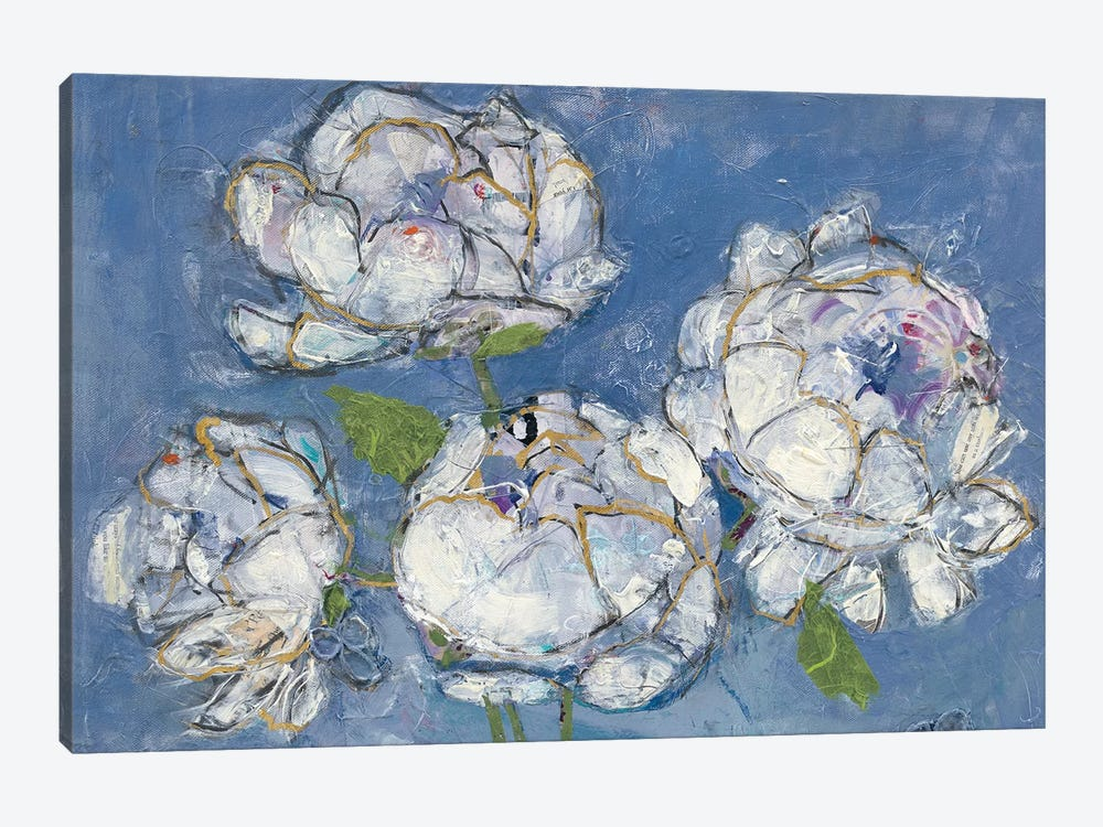 Vase Of Peonies by Kellie Day 1-piece Canvas Print