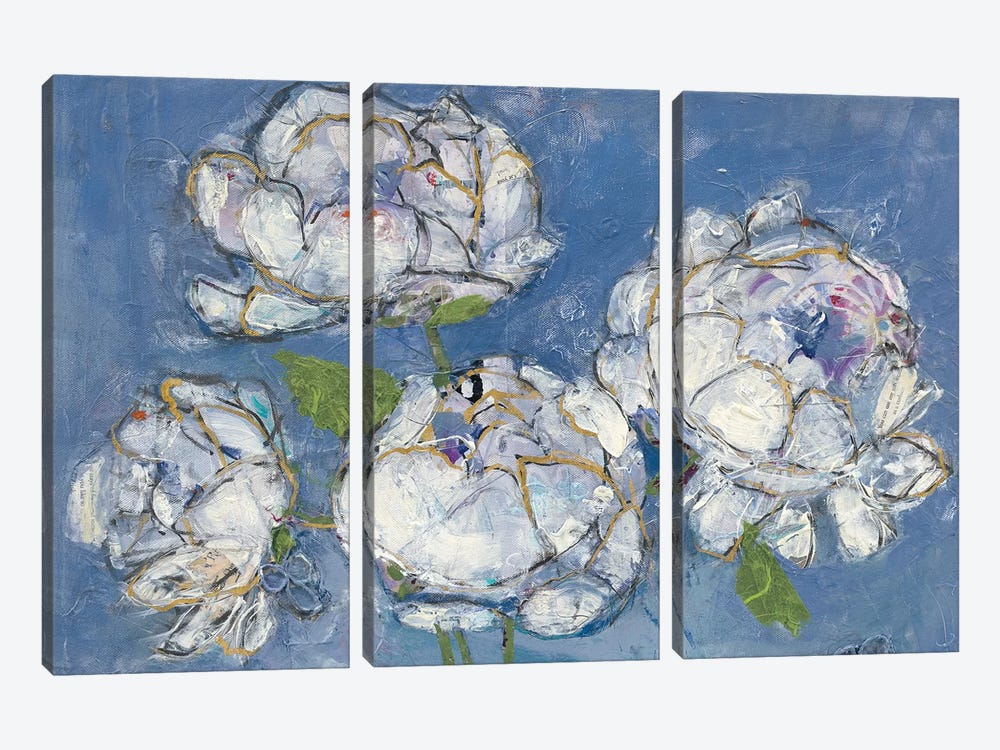 Vase Of Peonies by Kellie Day 3-piece Canvas Art Print