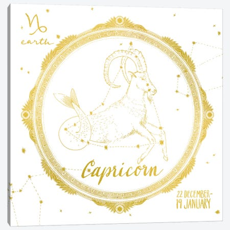 Capricorn Canvas Print #WAC4700} by Sara Zieve Miller Canvas Art