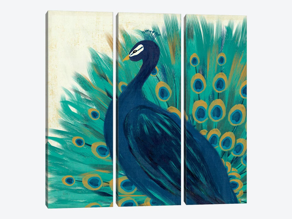 Proud As A Peacock II by Veronique Charron 3-piece Canvas Print