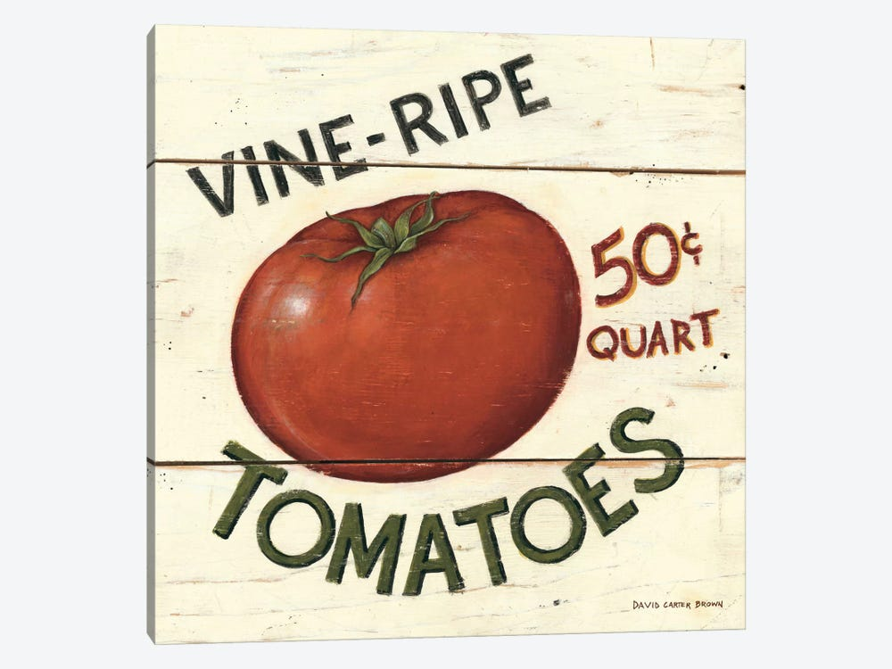 Vine Ripe Tomatoes by David Carter Brown 1-piece Canvas Art Print