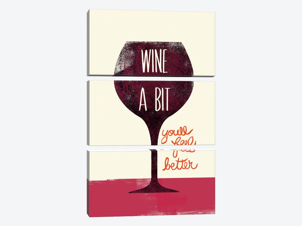Wine A Bit by Studio Bella 3-piece Canvas Wall Art