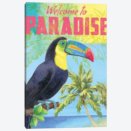 Island Time Parrot Canvas Print #WAC4751} by Beth Grove Canvas Art Print