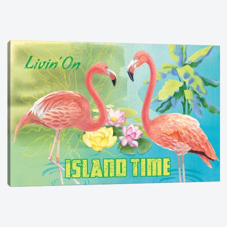 Island Time Flamingo Canvas Print #WAC4752} by Beth Grove Canvas Art Print