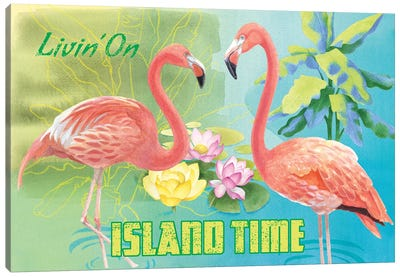 Island Time Flamingo Canvas Art Print