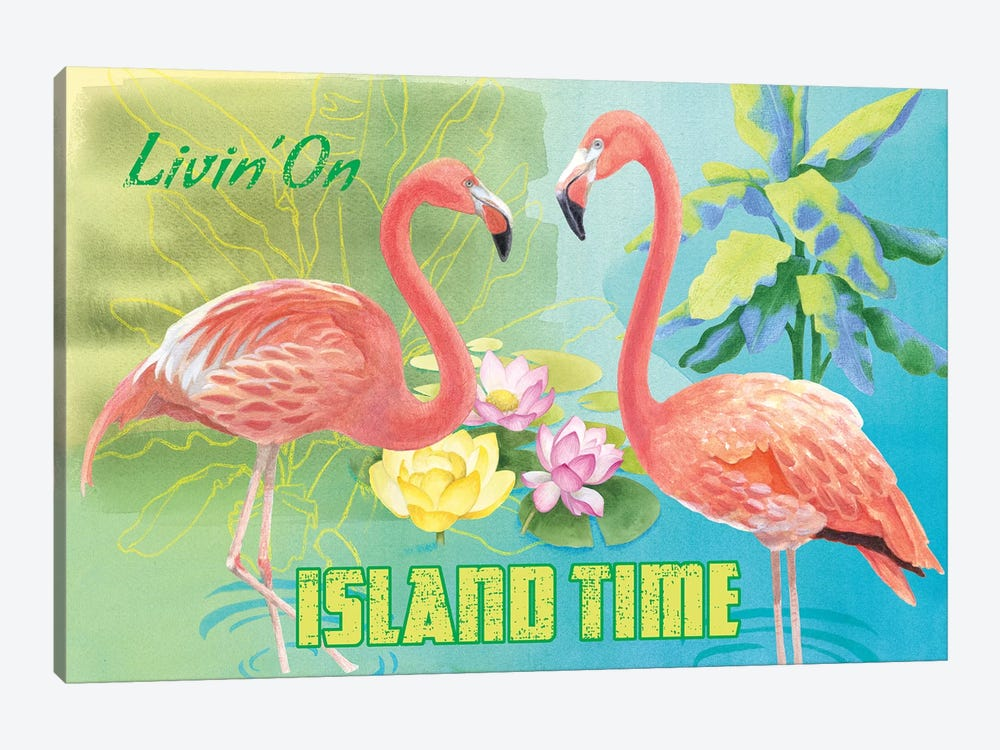 Island Time Flamingo 1-piece Canvas Artwork