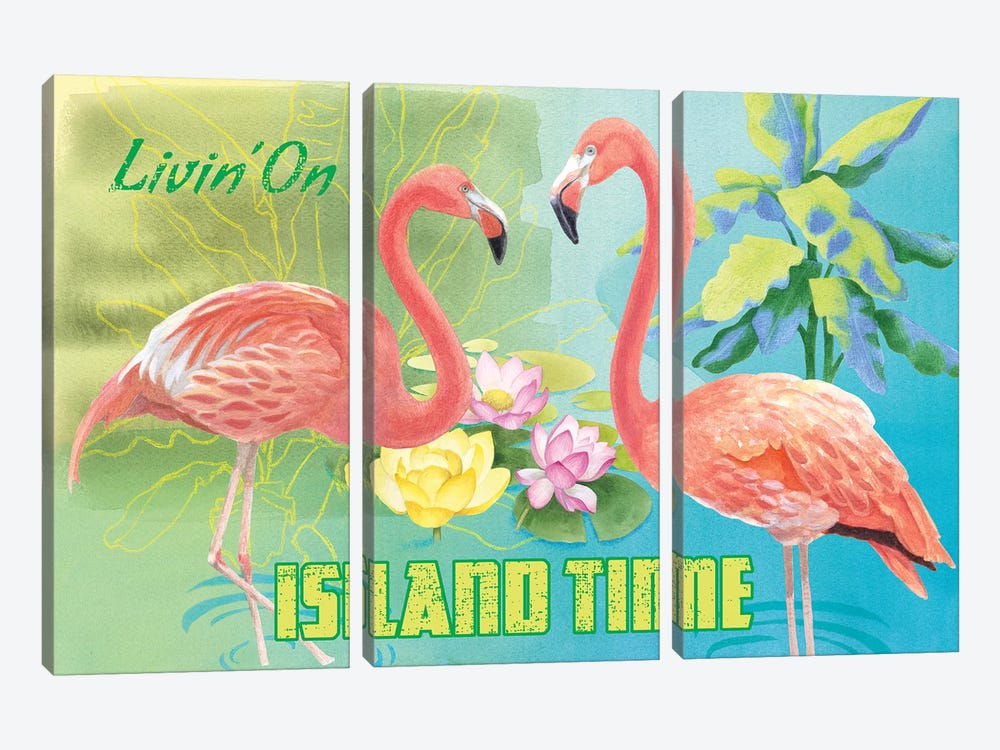 Island Time Flamingo by Beth Grove 3-piece Canvas Wall Art