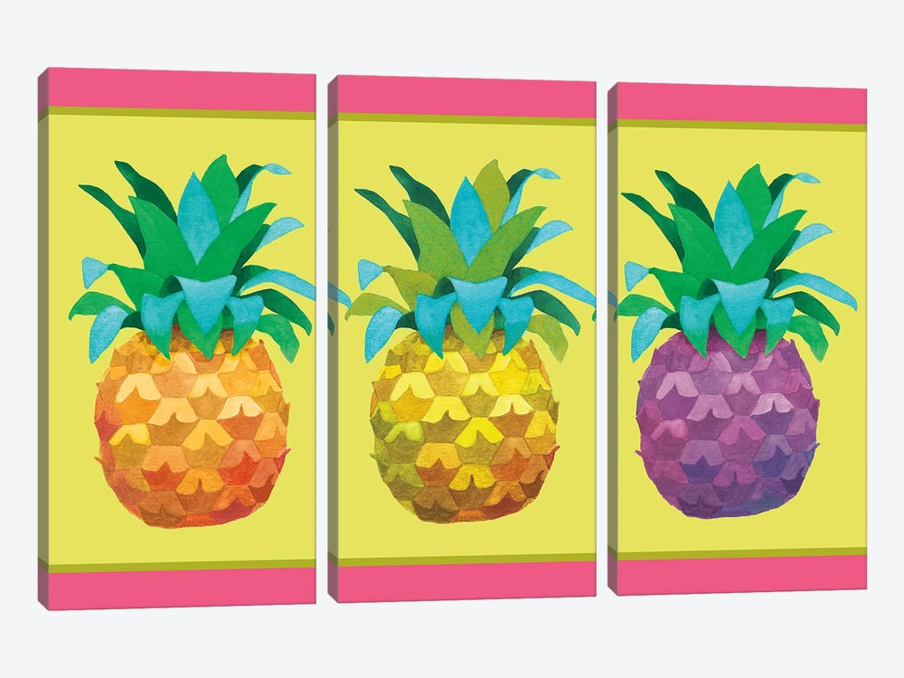 Island Time Pineapples I by Beth Grove 3-piece Canvas Art Print