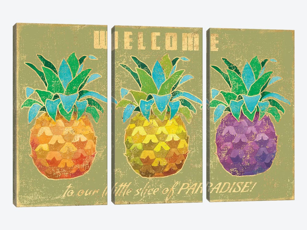 Island Time Pineapples II by Beth Grove 3-piece Canvas Wall Art