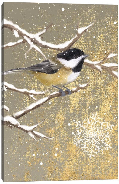 Winter Birds Series: Chickadee Canvas Art Print