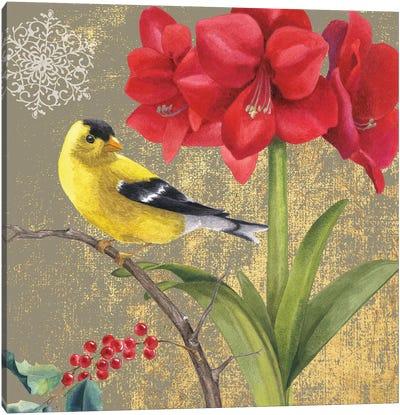 Winter Birds Series: Goldfinch I Canvas Print #WAC4763