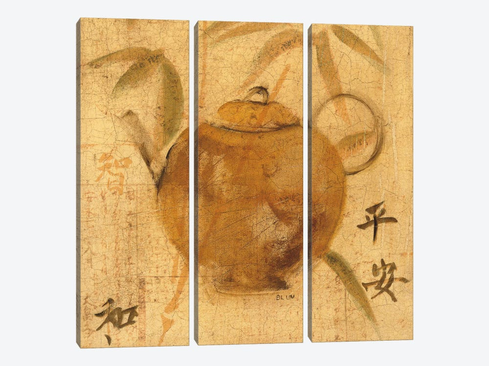 Asian Teapot IV by Cheri Blum 3-piece Canvas Wall Art