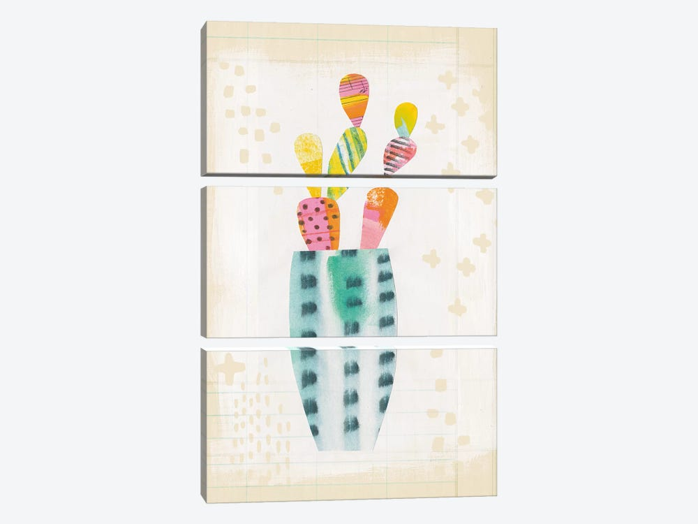 Collage Cactus I.A by Melissa Averinos 3-piece Canvas Art