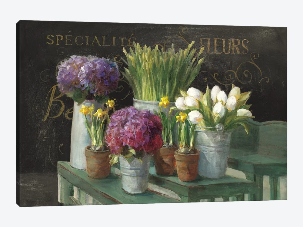 Les Fleurs Printemps On Black by Danhui Nai 1-piece Canvas Wall Art