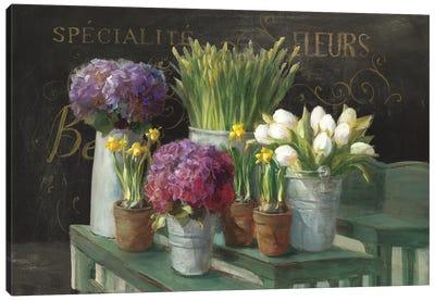 Les Fleurs Printemps On Black Canvas Art Print