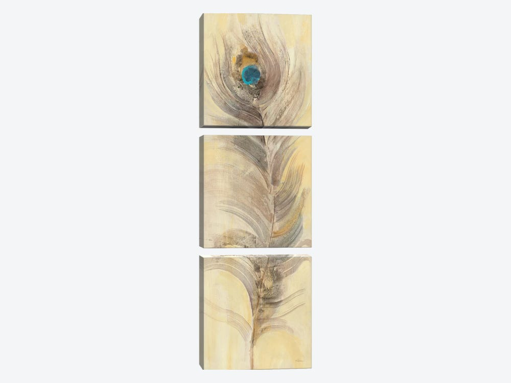Blue Eyed Feathers II 3-piece Canvas Print