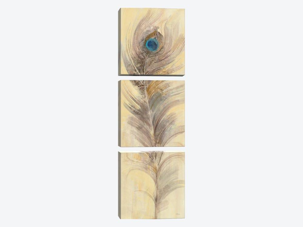 Blue Eyed Feathers III by Albena Hristova 3-piece Canvas Wall Art