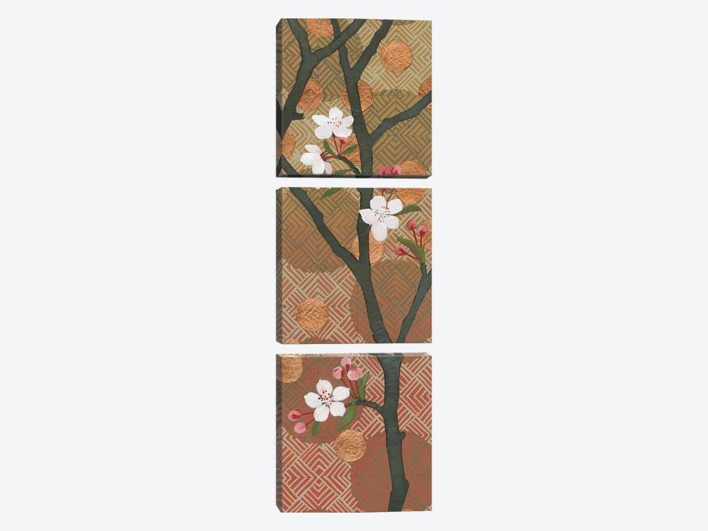 Cherry Blossoms Panel II by Kathrine Lovell 3-piece Art Print