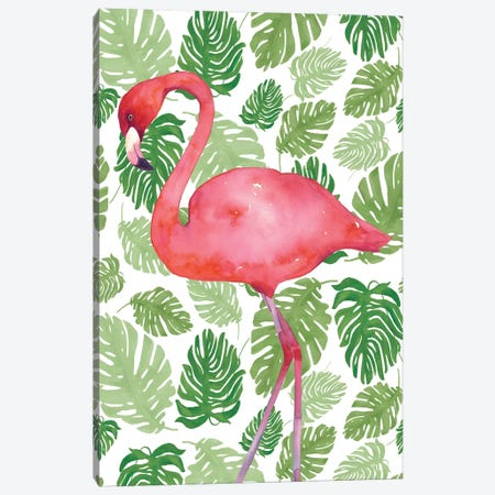 Tropical Flamingo II Canvas Print #WAC4934} by Wild Apple Portfolio Canvas Wall Art