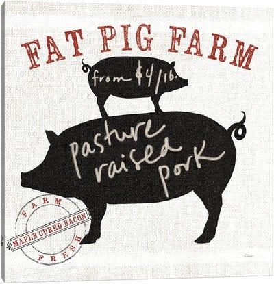 Farm Linen Pig Canvas Print #WAC4937