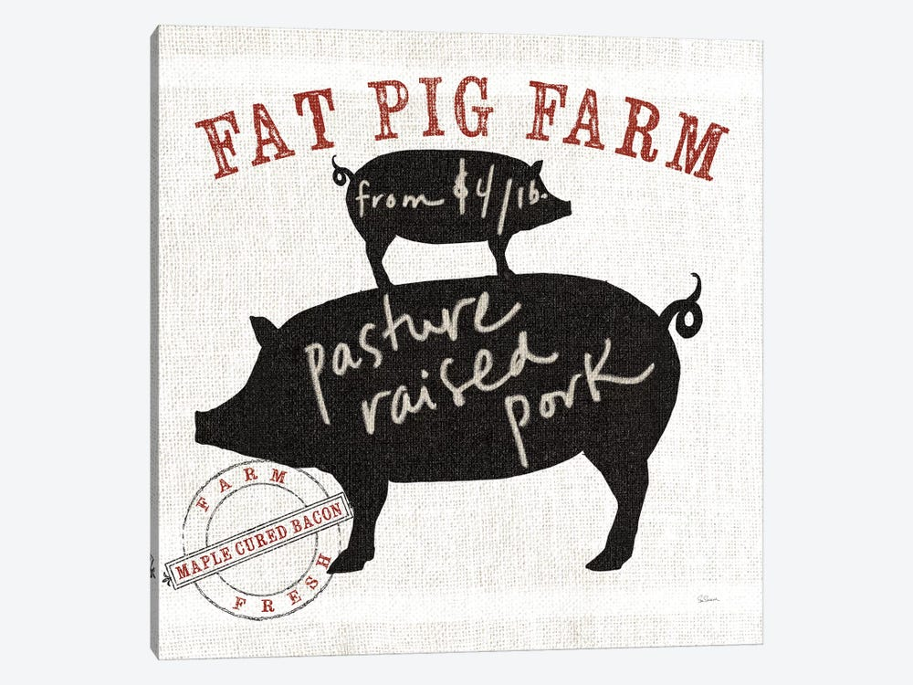 Farm Linen Pig 1-piece Canvas Artwork