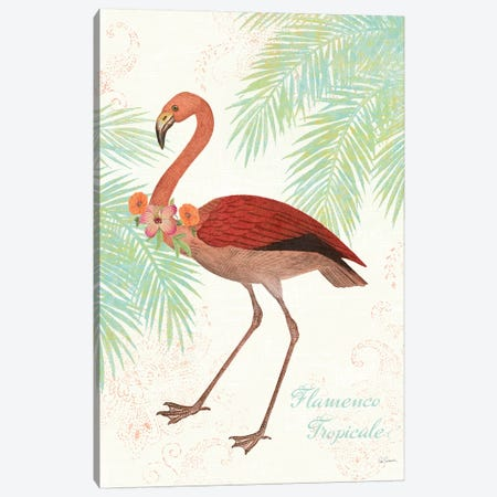 Flamingo Tropicale II Canvas Print #WAC4940} by Sue Schlabach Canvas Artwork