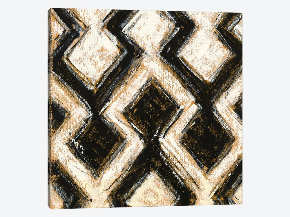 Black And Gold Geometric VIII by Shirley Novak 1-piece Canvas Art